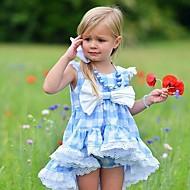 مجموعة ملابس بدون كم منقوش للفتيات طفل