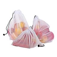 economico -Organizzatore di prodotti riutilizzabili per la conservazione della cucina in rete di poliestere con sacchetto in rete di frutta e verdura con sacchetto in rete da 3 pezzi