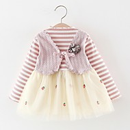 Baby Girls' Basic Striped Long Sleeve Dress Black
