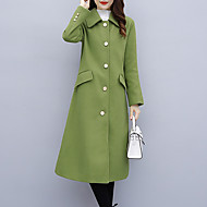 Women's Daily / Work Basic / Street chic Fall / Winter Long Pea Coat, Solid Colored Turndown Long Sleeve Cotton / Wool Blend Black / Green