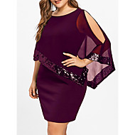 Women's Slim Sheath Dress - Solid Colored Sequins Wine Red S M L XL