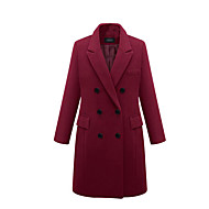 Women's Daily Long Coat, Solid Colored Notch Lapel Long Sleeve Polyester Black / Wine / Gray