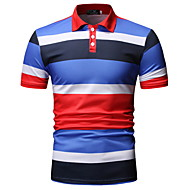 Men's Color Block Polo Basic Daily Shirt Collar Blue / Red / Short Sleeve