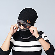 Men's Unisex Work Basic Acrylic Knitwear Ski Hat-Solid Colored Fall Winter Black Wine Brown