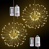 ZDM 2 Pack 120LED Firework Copper Lights8 Modes Dimmable String Fairy Lights with Remote Control Hanging Starburst Lights for PartiesHomeChristmas Outdoor Decoration