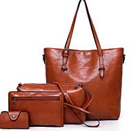 Women's Zipper PU Bag Set Solid Color 4 Pieces Purse Set Black / Brown / Wine