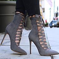 저렴한 -여성용 부츠 스틸레토 굽 뾰족한 발가락 스웨이드 종아리 중간 높이 부츠 가을 겨울 블랙 / 아미 그린 / 핑크