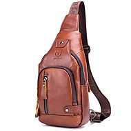 Men's Zipper Cowhide Sling Shoulder Bag Solid Color Red Brown
