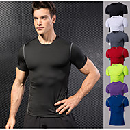 cheap -YUERLIAN Men's Running T-Shirt Compression Shirt Running Base Layer Athletic Short Sleeve Elastane Quick Dry Anatomic Design Stretchy Gym Workout Exercise & Fitness Basketball Running Sportswear