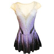 povoljno -21Grams Haljina za klizanje Žene Djevojčice Korcsolyázás Haljine purpurna boja Open Back Spandex Mikroelastično Trening Odjeća za klizanje Klasika Crystal / Rhinestone Bez rukávů Klizanje na ledu