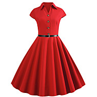 Women's Casual Evening Party Basic Elegant A Line Dress - Solid Colored Patchwork Black Blue Red S M L XL