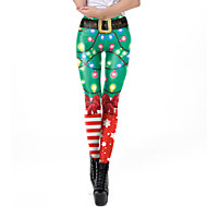 Women's Christmas Print Legging - Geometric Mid Waist Green S M L / Slim