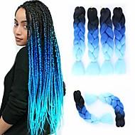 Udvidelse Drejede Fletninger Afro Kinky Fletninger Lige Box Fletninger Naturlig Farve Syntetisk hår 24 inch Fletning af hår 3 Dele Varme resistent