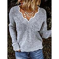 preiswerte -Damen Solide Langarm Pullover Pullover Jumper, V-Ausschnitt Schwarz / Purpur / Rosa S / M / L