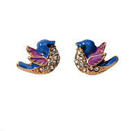 Women's Blue Earrings Classic Bird Artistic Asian Sweet Elegant French Earrings Jewelry Gold For Wedding Party Engagement Daily Festival 1 Pair