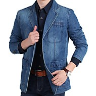 Men's Blazer, Solid Colored Notch Lapel Polyester Light Blue / Navy Blue