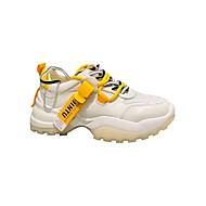 ราคาถูก -สำหรับผู้หญิง รองเท้ากีฬา ส้นแบน ปลายกลม ตารางไขว้ สำหรับวิ่ง ฤดูหนาว ส้ม / สีเหลือง
