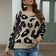 Women's Leopard Long Sleeve Pullover Sweater Jumper, Round Neck Fall / Winter Black / Blushing Pink / Brown S / M / L