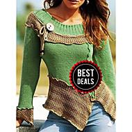 preiswerte -Damen Einfarbig Langarm Pullover Pullover Jumper, Rundhalsausschnitt Purpur / Blau / Rote S / M / L