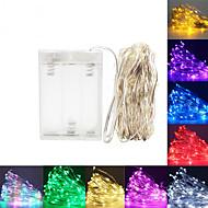 billige -5 m Fleksible LED-lysstriper Lysslynger 50 LED SMD 0603 1pc Varm hvit Hvit Rød Jul Nyttår Vanntett Fest Dekorativ AA batterier drevet