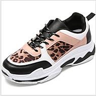 ราคาถูก -สำหรับผู้หญิง รองเท้ากีฬา ส้นแบน ปลายกลม PU สำหรับวิ่ง ฤดูหนาว สีดำ