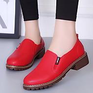 Women's Flats Flat Heel Round Toe PU Fall & Winter Black / White / Red