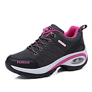 Women's Trainers Athletic Shoes Hidden Heel Round Toe Outdoor Hiking Shoes Leather Pink / White Pink / Grey Black