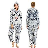 Teenager Adults' Kigurumi Pajamas Cat Onesie Pajamas Flannelette White+Gray Cosplay For Men and Women Animal Sleepwear Cartoon Festival / Holiday Costumes