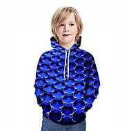 preiswerte -Kinder Jungen Aktiv Street Schick Geometrisch 3D Patchwork Druck Langarm Kapuzenpullover Blau