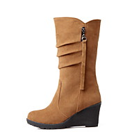 Women's Boots Wedge Heel Round Toe Suede Mid-Calf Boots Fall & Winter Black / Yellow / Green