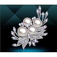 Women's Brooches Classic Flower Luxury Basic Elegant Brooch Jewelry White / Sliver For Wedding Party Daily Holiday Festival