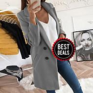 preiswerte -Damen Alltag Herbst Winter Standard Mantel, Solide Gekerbtes Revers Langarm Polyester Schwarz / Gelb / Blau