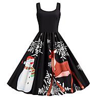 Women's Christmas Party Daily Wear Basic A Line Dress - Color Block Strap Black S M L XL