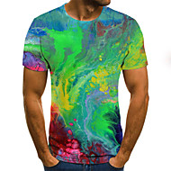 Men's Daily Going out Street chic / Exaggerated T-shirt - 3D / Graphic / Letter Pleated / Print Rainbow