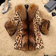 Women's Daily Fall & Winter Long Faux Fur Coat, Leopard Turndown Long Sleeve Faux Fur Brown