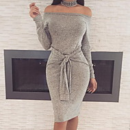Women's Bodycon Dress - Solid Colored Black Wine Dark Gray S M L XL