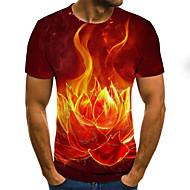 Men's Holiday Club Street chic / Punk & Gothic T-shirt - Floral / Color Block / 3D Print Orange