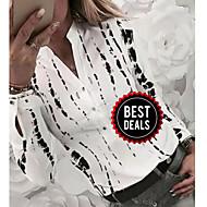preiswerte -Damen Geometrisch Hemd, V-Ausschnitt Weiß