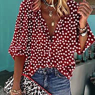 Women's Polka Dot Shirt Daily Shirt Collar Wine / White / Black / Yellow / Green