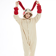 Adults' Kigurumi Pajamas Rabbit Bunny Onesie Pajamas Flannel Fabric Red Cosplay For Men and Women Animal Sleepwear Cartoon Festival / Holiday Costumes