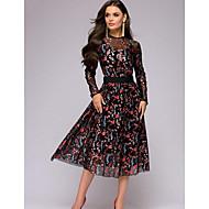 Women's Elegant Swing Dress - Floral Print Black S M L XL