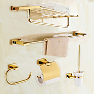 Bathroom Accessory Set Modern Style Brass 5pcs - Hotel bath Toilet Paper Holders / tower bar / tower ring Wall Mounted