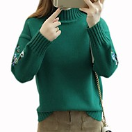Women's Solid Colored Long Sleeve Pullover Sweater Jumper, High Neck White / Yellow / Green One-Size