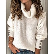 Women's Solid Colored Long Sleeve Pullover Sweater Jumper, Turtleneck White / Blue / Red S / M / L
