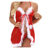 Women's Lace Sexy Babydoll & Slips Nightwear Patchwork Red S M L / Christmas / Strap