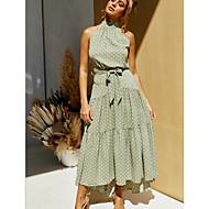 Women's Swing Dress Maxi long Dress - Sleeveless Polka Dot Halter Neck White Black Red Green S M L XL