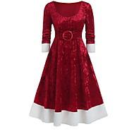 Women's Christmas Party Elegant A Line Dress - Solid Colored Purple Blue Red S M L XL