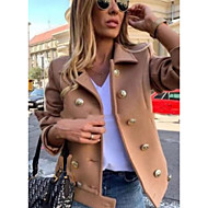 Women's Daily Fall & Winter Long Coat, Solid Colored V Neck Long Sleeve Polyester Wine / Blue / Gray