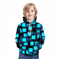 Kids Boys' Active Street chic Geometric 3D Patchwork Print Long Sleeve Hoodie & Sweatshirt Blue