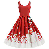 Women's Christmas Party Daily Wear Basic A Line Dress - Color Block Strap Red S M L XL